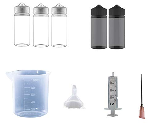 ET-Bundles M E-Zigarette Liquid Flasche Set, 9tlg Liquid misch Set, Chubby Gorilla V3 Liquid Flaschen, Messbecher 100ml + Kanüle + Spritze + Trichter Dampfer Zubehör E-Zigarette Zubehör (Shisha Für Flaschen Zubehör)