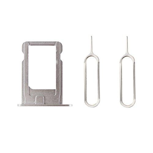 Mobofix SIM Card Porte Cartes Tray Holder + 2 épingles d'éjection Remplacement pour iPhone 5s Argent