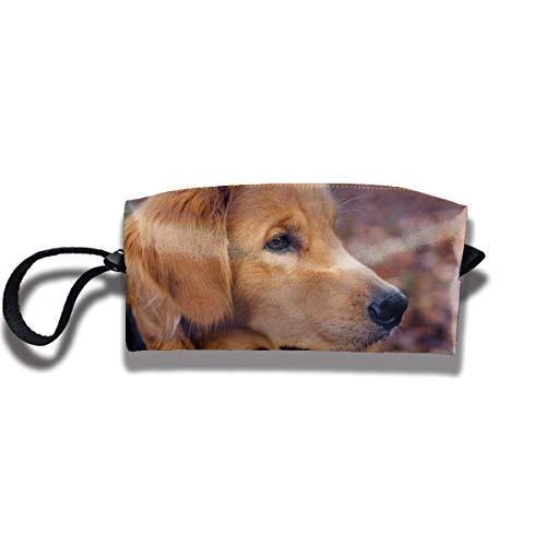 Doinh Goldener Retriever Welpe Kleine Kosmetiktasche Reisetasche Reißverschluss Wasserdicht Aufbewahrungstasche Tragbare Kosmetiktasche Pailletten Tasche für Mädchen -