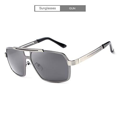 Handu yifu Herren Polarized Sonnenbrille, Rechteckiger Metallrahmen Und Carbon Brillen Modedesign - Spiegel 100% UV400 Schutz, Polarisierter Und Nicht Polarisierter UV Schutz,Gray