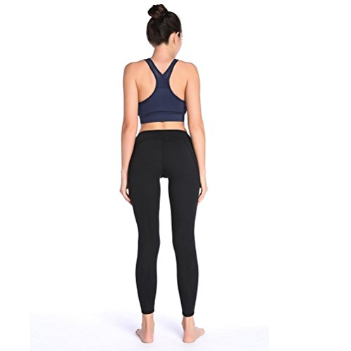 Slim Leggings Donne Fitness Workout Yoga Elastico Vita Alta Pantaloni Black