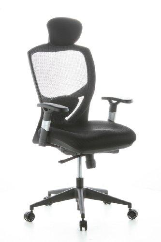 �rostuhl Chefsessel VENUS BASE Netzstoff schwarz, flexible Lendenwirbelstütze, Drehstuhl ergonomisch, verstellbare Armlehnen, Schreibtischstuhl, viele Einstellmöglichkeiten, Sitztiefe einstellbar (Home-office Schreibtisch Executive)