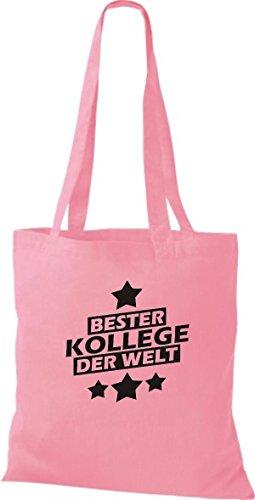 Shirtstown Stoffbeutel bester Kollege der Welt rosa