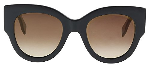 Fendi ff 0264/s jl 807, occhiali da sole donna, nero (black/bw brown), 51