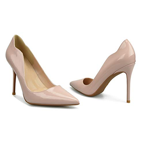 Patent Leder Knöchel Gurt (Lindarry D'orsay Pumps für Frauen Hohe Stiletto Heels Patent PU Leder Sexy Spitz Klassische Kleid Schuhe für Damen Mode (Color : Nude 6cm Heel, Size : 35 EU))