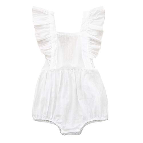 Pwtchenty Einfarbiges GekräUseltes Geraffte Jumpsuit Spielanzug Lang Hosen Overalls MäDchen Baby Sommer Kleidung