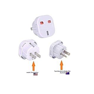 Tech Traders TTUK2USA UK to USA America/AU Australia/New Zealand Travel Adapter Pack, White, Set of 2 Pieces