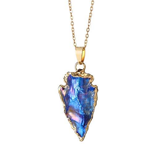 feiXIANG Damen Halskette Mode bunte Anhänger Bohemian-Stil Dreieck Stein Schmuck Valentinstag Geschenk(Blau)
