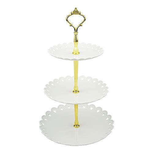 hetoco 3-Tier-weiß Kunststoff Dessert Ständer Gebäck Ständer Kuchen Ständer Cupcake-Ständer Halterung Servierplatte für Party Hochzeit Home Decor Weiß/Goldfarben (Tier-servierplatte)
