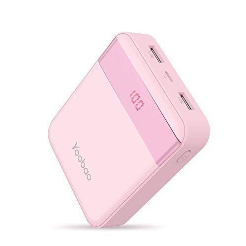 Yoobao 10000mAh Externer Akku, Handy Powerbank Akku Pack Power Bank Akkupack mit Dual Input Ladeport, LED Digital Display für Apple iPhone, iPad, Samsung, Huawei, HTC und weitere Smartphones (Pink)