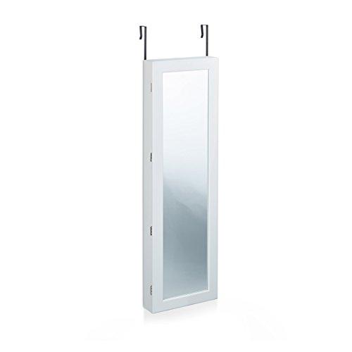 Relaxdays Schmuckschrank mit Spiegel, Spiegelschrank hängend für Ketten, Hängeschrank für Tür, HBT: 120x36,5x10 cm, weiß - 2
