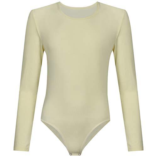 Evoni Dafi Kinder Langarm-Body   Mädchen-Body Rundhals-Ausschnitt Größen   Druckknöpfe im Schritt   Kinderwäsche Baumwolle   komfortabeler Turnbody   Ballett-Trikot (164, Creme)