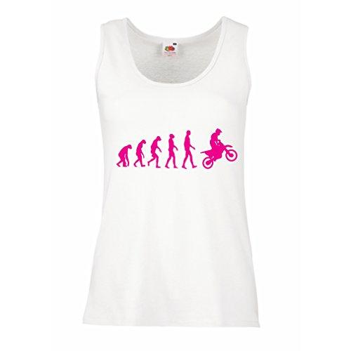 Serbatoio,Maglietta Senza Maniche Femminile Evoluzione Motocross, Moto Sporca, Maglia da Moto, Abbigliamento da Corsa, Moto da Fuoristrada (Medium Bianco Magenta)
