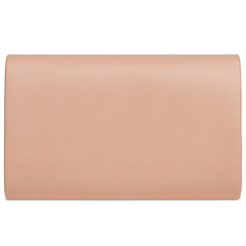 CASPAR TA373 Damen elegante Envelope Clutch Tasche / Abendtasche mit langer Kette Altrosa
