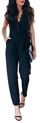 Longwu tuta da donna a vita alta con scollo a v in pizzo e maniche lunghe con cintura nero-xl