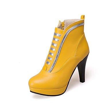 RTRY Scarpe Donna Pu Autunno Inverno La Moda Stivali Stivali Tacco Chunky Babbucce/Stivaletti Di Abbigliamento Casual Giallo Bianco Nero US6 / EU36 / UK4 / CN36