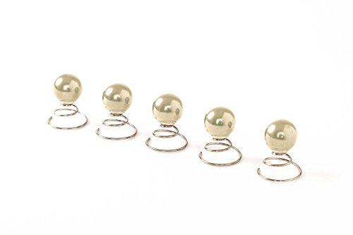 Lot de 5 épingles en spirale ornées de perles - accessoire pour cheveux/coiffure de mariée - 12 mm - beige