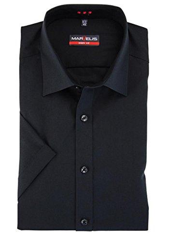 MARVELIS Body Fit Hemd Halbarm mit New Kent Kragen Popeline schwarz Schwarz