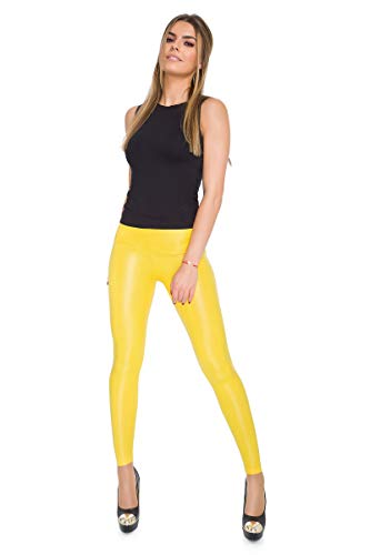 FUTURO FASHION Sexy Mat voller Länge Leggings hohe Taille Latex Kunstleder Gelb 36 EU