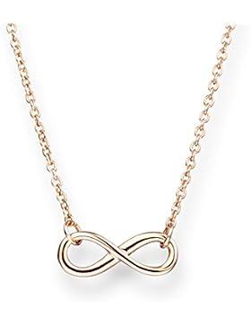 Glanzstücke München Damen-Halskette Infinity Sterling Silber rosévergoldet 40 + 5 cm - Silberkette mit Unendlichkeit...