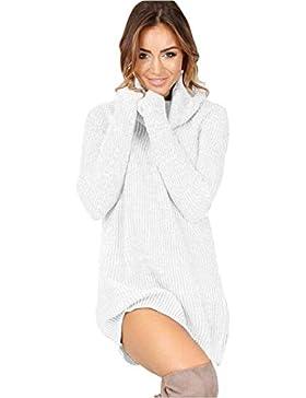 Jersey Largo Mujer Otoño Invierno Elegante Moda Jerseys Lana Cuello Alto Color Sólido Manga Larga Elástica Slim...