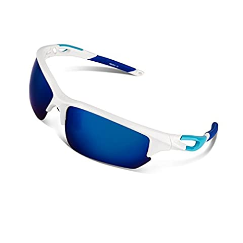 RIVBOS Polarized Sports Sunglasses Glasses for Men Women Tr90 Unbreakable Frame for Cycling Baseball Running Rb803 (White&Blue Mirror Lens)