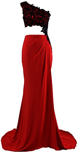 MACloth Donna 2pezzi maglia una spalla vestito da ballo pizzo formale Abito da sera Burgundy 52