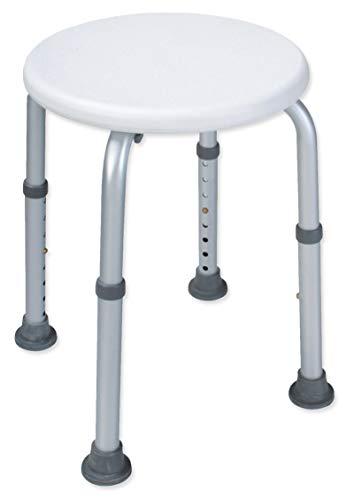 Duschhocker (Duschhocker Duschsitz Duschhilfe Höhenverstellbar Weiß Alu und Kunststoff Badhocker)