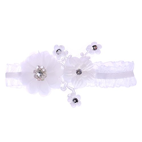 Bestoyard giarrettiera da sposa in pizzo con strass e fiore per sposa e damigella