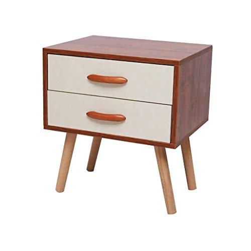 SCJS Nachttisch 2 Schubladen Nachttisch/Nachttisch - Aufbewahrungseinheit aus massivem Naturholz - 2 Schubladen Naturholz-nachttisch