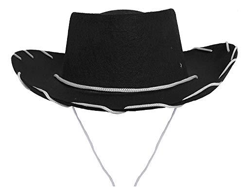 Pferd Sheriff Kostüm - ILOVEFANCYDRESS Kinder SCHWARZER Cowboy Hut = MIT ODER OHNE Maske =IN VERSCHIEDENEN STÜCKZAHLEN= Hut IN SCHWARZ =MIT WEIßER Schnur =Durchmesser VON 55cm= 6 HÜTE OHNE Maske