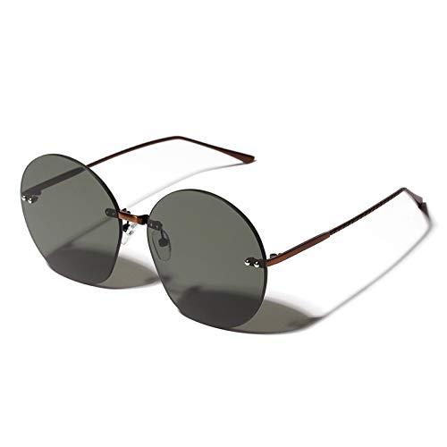 YLYZJH Runde Sonnenbrille Frauen randlose übergroßen Sonnenbrille weibliche Vintage grün braun Farbe Brillen für Strand uv400