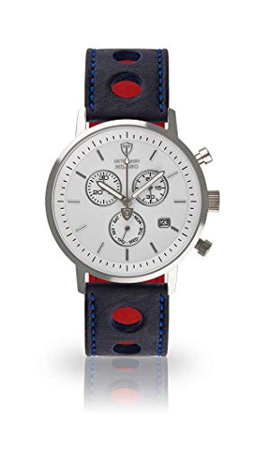 DETOMASO Milano Men's Wristwatch Chronograph Analogue Quartz Blue Racing Leather Strap White dial DT1052-B-833