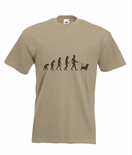 Evolution a maglietta Basset Hound Funny Dog Maglietta taglie dalla S alla 2X XL Light Brown L