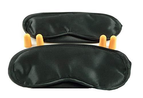 Fabrikneues Schlaf-Set: 2 x Schlafmasken, 4 x Ohrenstöpsel, Schlafmasken ermöglichen Bewegungsfreiheit für Augen -