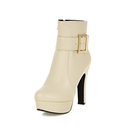 AgooLar Damen Hoher Absatz Hoch Spitze Rein Ziehen auf Stiefel, Cremefarben, 39