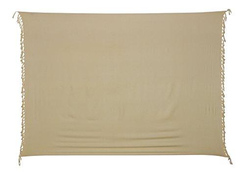 Sarong Pareo Wickelrock Strandtuch Tuch Wickeltuch Handtuch - Blickdicht - ca. 170cm x 110cm - Beige Einfarbig Handgefertigt inkl. Kokos Schnalle in Fischform (Kokos-schnalle)
