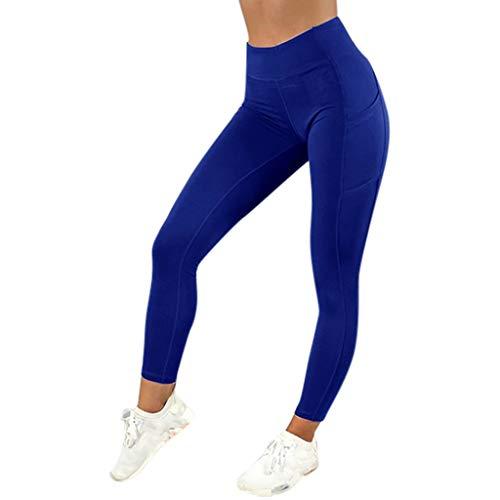 Amoyl Damen Sport Leggings Strumpfhose Mit Taschen Solide Dünne Hohe Taille Fitness Sporthose Laufhose Hose für Smartphone Handy Tasten Yoga (Blau, S)