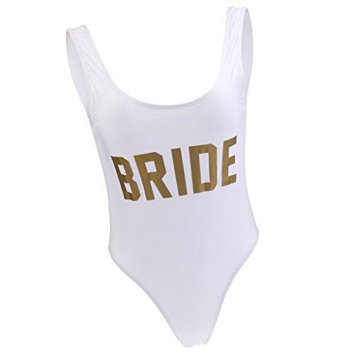 Blesiya Costume Da Bagno Spiaggia Bikini Monokini Donna Dorato Bride Sposa Festa Di Piscina Addio Al Nubilato Bianco