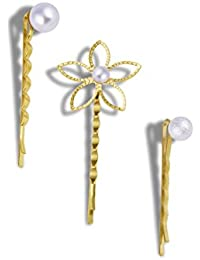 PEARL AND FLOWER HAIR PINS