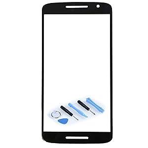 Displayglas Front Display Glas Schwarz für Motorola Moto X Play 3rd gen XT1562 XT1563 Reparatur SET Hochwertig + Opening KIT TOOL Werkszeug Neu New
