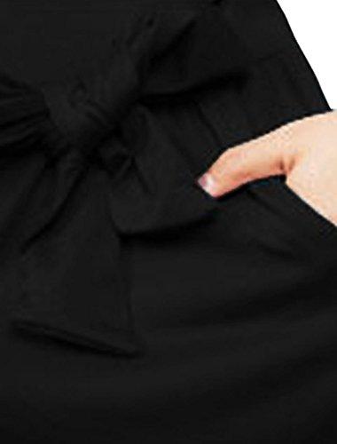Allegra K Femmes Sexy Traverser Col V Wrap-Front Pantalons Courts Barboteuse Noir