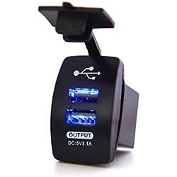 Leoboone Chargeur de voiture double USB 3.1 A étanche universel 12-24 V
