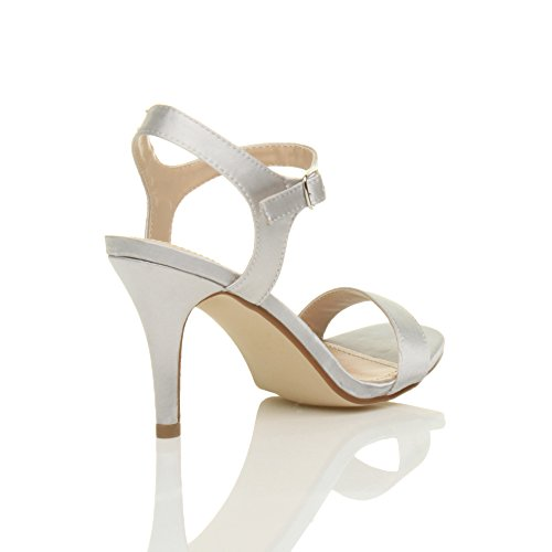 Femmes haute talon boucle fête élégant à lanières sandales chaussures pointure Satin Argent