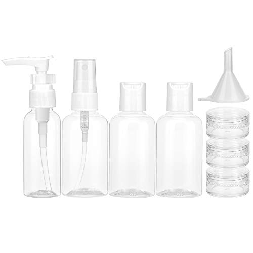 Luxspire Travel Bottle Set, [8 PACK] Durable Plastic Leak Proof Travel Accessories Bottles Portable Travel Bottle Pump Sprayer Set, Clear -