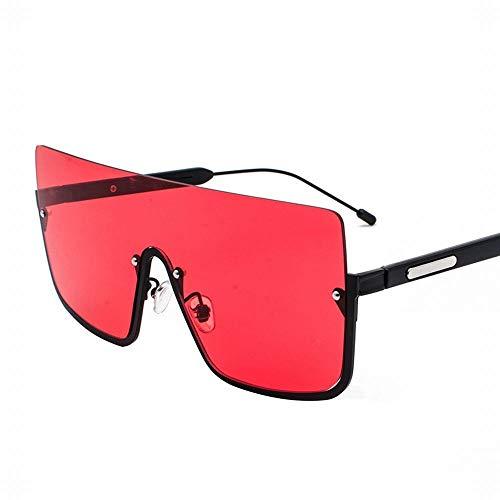 WULE-RYP Polarisierte Sonnenbrille mit UV-Schutz Pilot-Style Frog Mirror Large Frame Sonnenbrille für Frauen. Superleichtes Rahmen-Fischen, das Golf fährt (Farbe : Black/red)