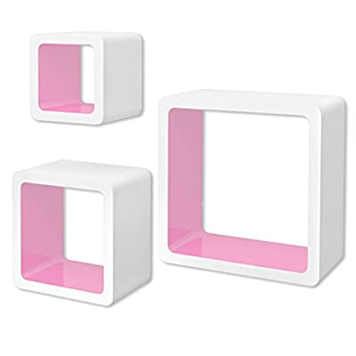 vidaXL 3 White-pink MDF Floating Wall Display Shelf Cubes Book/DVD Storage - low-cost UK light shop.