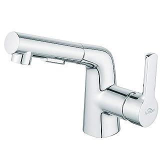 Auralum extraíble–Grifo cromo baño grifo grifo con ducha extraíble