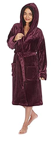 Women's Cute Flannel Super Soft Plush Fleece Hooded Dressing Gown Bath Robe NEW