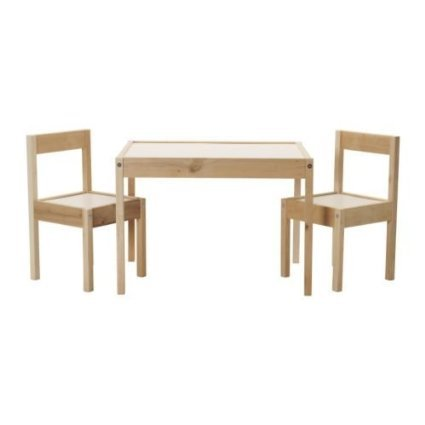 IKEA LATT - Children-s table with 2 chairs, white, pine